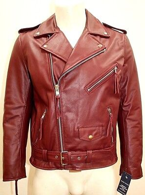 Brando Mens Classic Biker Fitted Designer Style Cherry Red Hide Leather Jacket