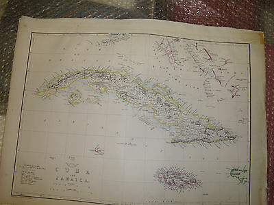 Jamaica Cuba Islands map circa 1863 Dispatch Atlas- drawn T.Ettling Framed20more