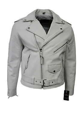Brando Mens Classic Biker Fitted Designer Style White Cowhide Leather Jacket