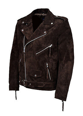 Brando Mens Classic Biker Fitted Designer Style Brown Real Suede Leather Jacket