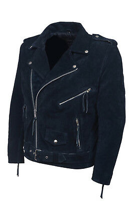 Brando Mens Classic Biker Fitted Designer Style Blue Real Suede Leather Jacket