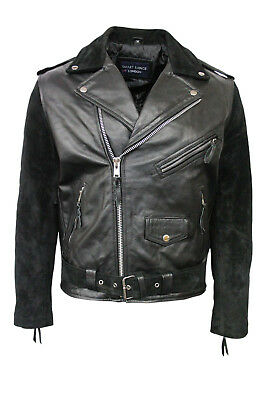 Brando Mens Classic Biker Fitted Designer Style Black Suede&Hide Leather Jacket