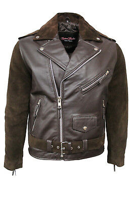 Brando Mens Classic Biker Fitted Designer Style Brown Suede&Hide Leather Jacket