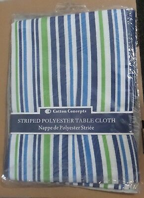 "Cotton Concepts striped Polyester TableCloth 52"" X 72"" Blue."