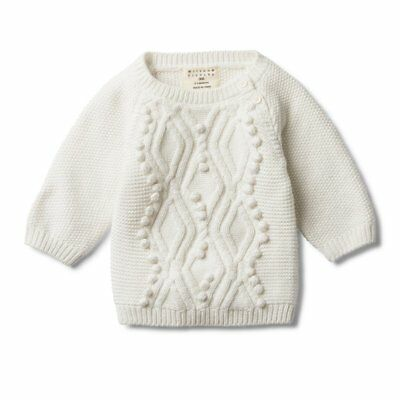 Wilson and Frenchy - Cable Knitted Pom Pom Jumper - Cloud