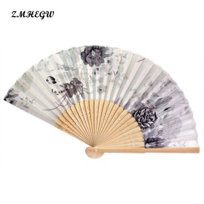 Vintage Bamboo Folding Hand Held Flower Fan Chinese Dance Party Pocket Gifts Dan