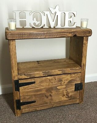 Bedside table lamp book shelf rustic chunky wooden storage cabinet end cupboard