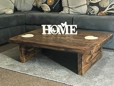 Coffee table Rustic Wood Home LOW chunky handmade wooden