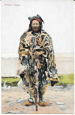 China Postcard: View Of Chinese Beggar Holding Stick Cane