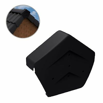 Black Angled Ridge End Cap for Dry Verge Systems, Gable Apex Roof Tiles