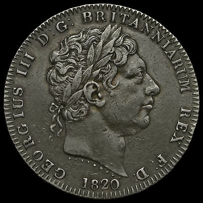1820 George III Milled Silver LX Crown GVF+
