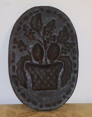 NICE Antique Cast Iron BASKET OF FLOWERS Cookie Mold