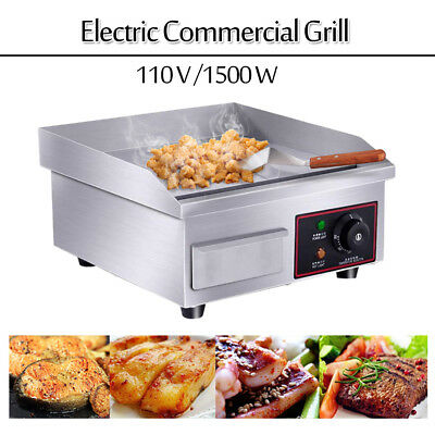"14"" Stainless Steel Electric Countertop Griddle Flat Top Restaurant Grills BBQ"