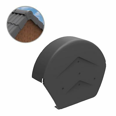 Grey Half Round Ridge End Cap for Dry Verge Systems, Gable Apex Roof Tiles
