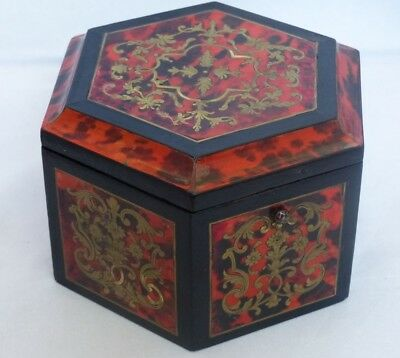 RARE Antique 19th Century Hexagonal Boulle 'faux' Tortoiseshell Table Box/Casket