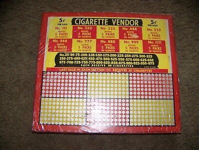Vintage 5 cent Cigarette Vendor Punch Board