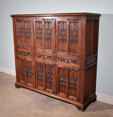 *Vintage French Gothic Revival Cabinet/Console/Sideboard, Highly Carved in Oak