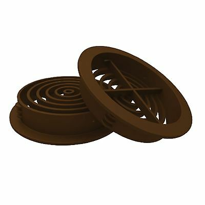 10 x Brown Plastic 70mm Round Soffit Air Vents / Upvc Push in Roof Disc / Fascia
