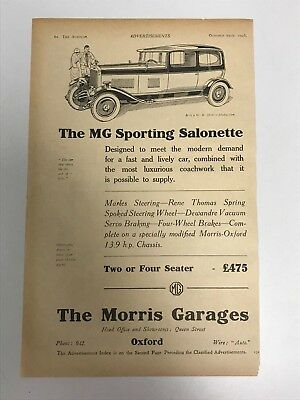 VERY EARLY RARE 1926 MG (MG Sporting Salonette) Morris Garage Old Car Advert L55