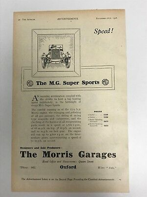 VERY EARLY RARE 1926 MG (MG Super Sports) Morris Garages Old Car Advert L56