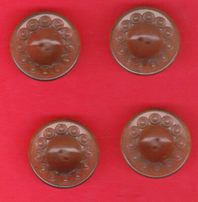 rare NATURAL BONE  BUTTONS SET OF 4  ORNATE BORDER DESIGN 1""
