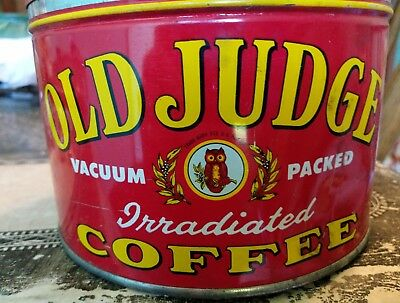 Vintage Old Judge Owl Coffee Tin. Good Condition For Age!