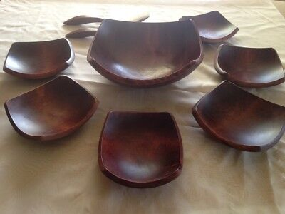 BARIBOCRAFT  9 PC WOODEN SALAD SQUARE BOWL SET  /  1 Bowl + 6 Bowls + 2 Utensils