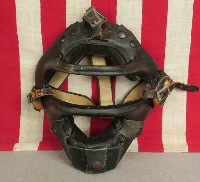 Vintage 1940s Wilson Baseball Catchers Face Mask Guard Metal w/Leather Pads Nice