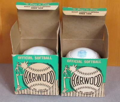 """Vintage Harwood & Sons Leather Official Softball Pair 12"""" w/ Boxes New Baseball"""