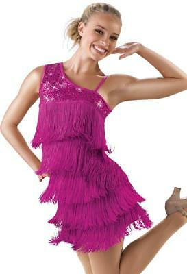 Dance Costume Medium Adult Pink Fringe Jazz Tap Latin Salsa Solo Competition