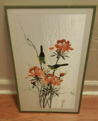 Japanese Framed Watercolor Silk Panel Floral Bird Painting - Signed