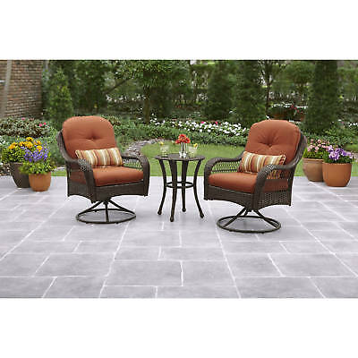 Awe Inspiring 3 Piece Bistro Set Wicker Swivel Uv Cushioned Outdoor Patio Forskolin Free Trial Chair Design Images Forskolin Free Trialorg