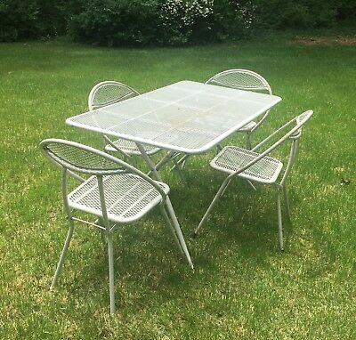 Awesome Vintage Mid Century Salterini Rid Jid Patio Dining Set Table Machost Co Dining Chair Design Ideas Machostcouk