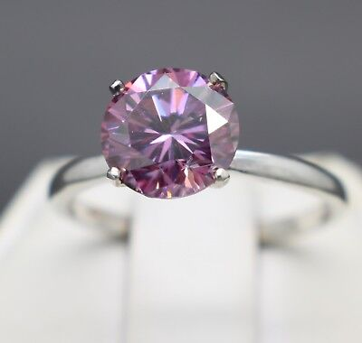 1.93cts 8.21mm Pink Diamond Engagement Size 7 Ring & $740 Retail Value