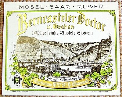 1961 Berncasteler Doctor feinste Auslese Eiswein ORIGNL UNUSED German Wine Label