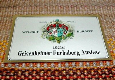 1921 Geisenheimer Fuchsberg Auslese Burgeff UNUSED German Wine Label VINTAGE