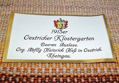 1915 Beerenauslese Oestricher Klostergarten UNUSED German Wine Label VINTAGE