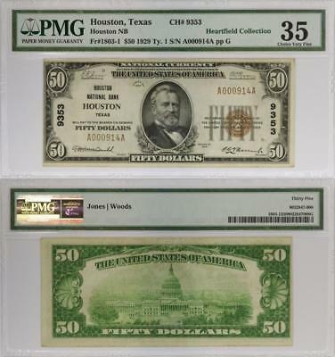 Fr# 1803-1 1929 $50 Houston National Bank -  PMG 35 - Heartfield Collection