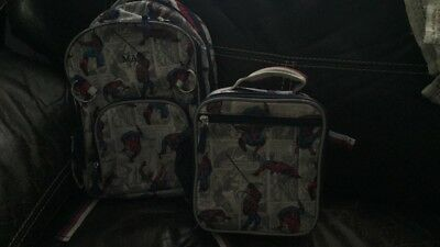 """Preowned Pottery Barn Kids Small Spider Man Backpack/Lunchbox """"Max"""" Embroidery"""