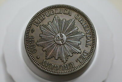 Uruguay 4 Centesimos 1869 High Grade Segmented By Mint A72 #k7378