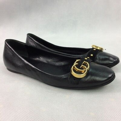 5670d4593ac GUCCI Womens Black Leather Ballet Flats with GG Logo Size US 9 EU 39.5