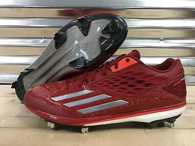 Adidas Energy Boost Icon Metal Baseball Cleats Red White Gray SZ ( D74251 )