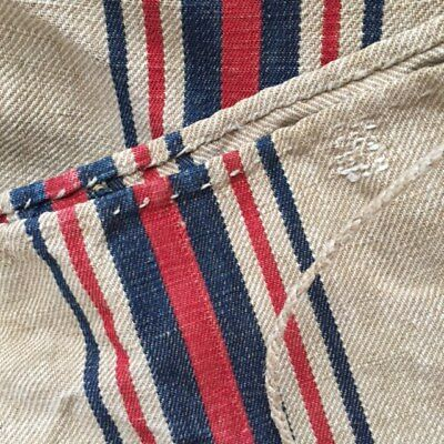 2 FRENCH Timeworn Red/Navy Stripe HEMP LINEN FEEDSACKS GRAINBAGS Pieced 1800's