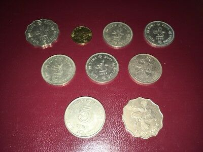 Lot of 9 HONG KONG COINS - FIVE, TWO & ONE DOLLAR COINS - TEN CENT COIN
