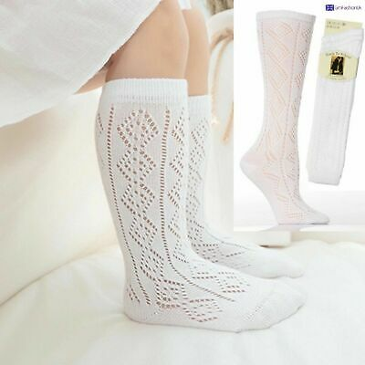 New 1-6 Pairs Girls White Pelerines Socks Long Back To School Knee High Pelerine