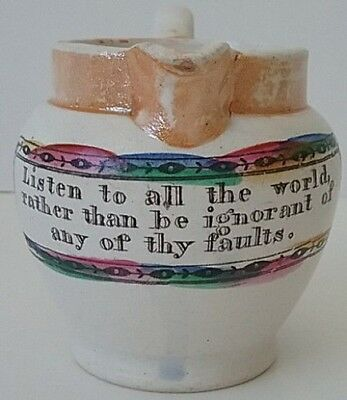 Motto Small Orange Luster Pitcher Quote Listen to World Rather Than Be Ignorant