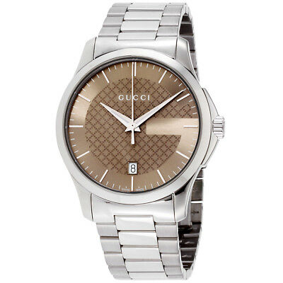 a819a20d032 GUCCI G-TIMELESS BROWN Dial Stainless Steel Unisex Watch YA126445 ...