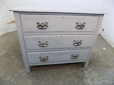 antique,small,edwardian,painted,grey,chest of drawers,3 drawers,metal handles