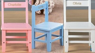 Personalised Wooden Kid's Chair/Child's Seat - Pink, Blue or White