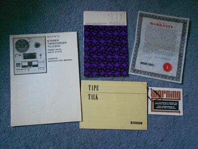 1969 SONY Stereo Tapecorder TC-630D Owners Instruction Manual Guide & Extras